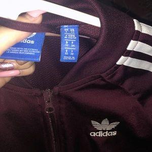 Burgundy 3 stripe Adidas jacket